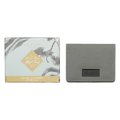 Ted Baker Gunmetal Collar Stiffeners in Ash Grey Case with Presentation Box