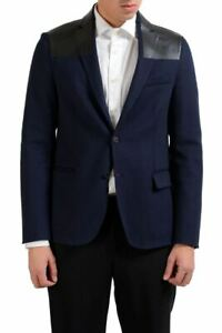 Valentino Men's Cashmere Leather Wool Blue Blazer Sport Coat  Size 36 38 40