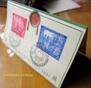 EBS-Germany-1947-Allied-Occupation-Leipzig-Autumn-Fair-Michel-965-966-ON-CARD