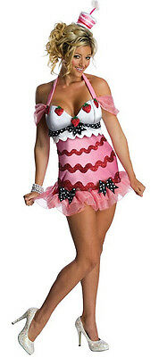 Birthday Cake Girl Pop Star Pink Fancy Dress Up Halloween Sexy Adult Costume
