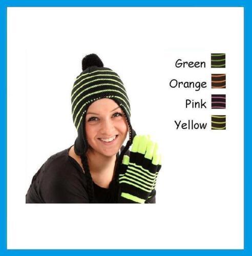 Ladies Black with Neon Stripes Peru Peruvian Sherpa Winter Ski Hat