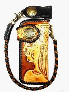 Biker-Chain-Wallet-motorcycle-trucker-tribe-chief-fully-tooled-engraved-Leather