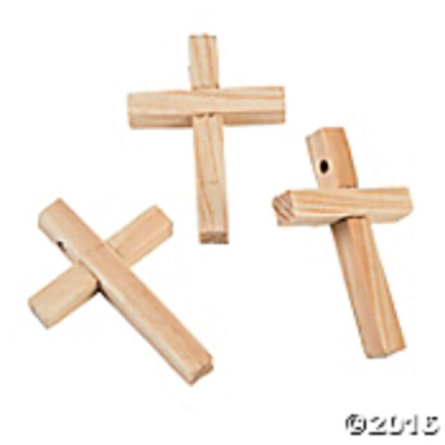100 Natural Wood Cross Beads Wooden Crosses Religious Crafts VBS Sunday School