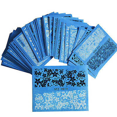 48-Sheet Lace Flowers Nail Art Decals Stickers Nail DIY Decor Water Transfer