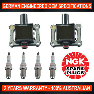 4x-Genuine-NGK-Spark-Plugs-amp-2x-Ignition-Coils-for-Mercedes-Benz-C200-CLK200