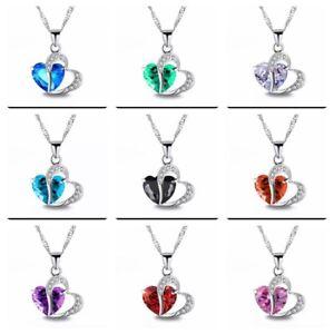Damen Schmuck Geschenke für Sie Rot Kristall Herz Halskette Liebe