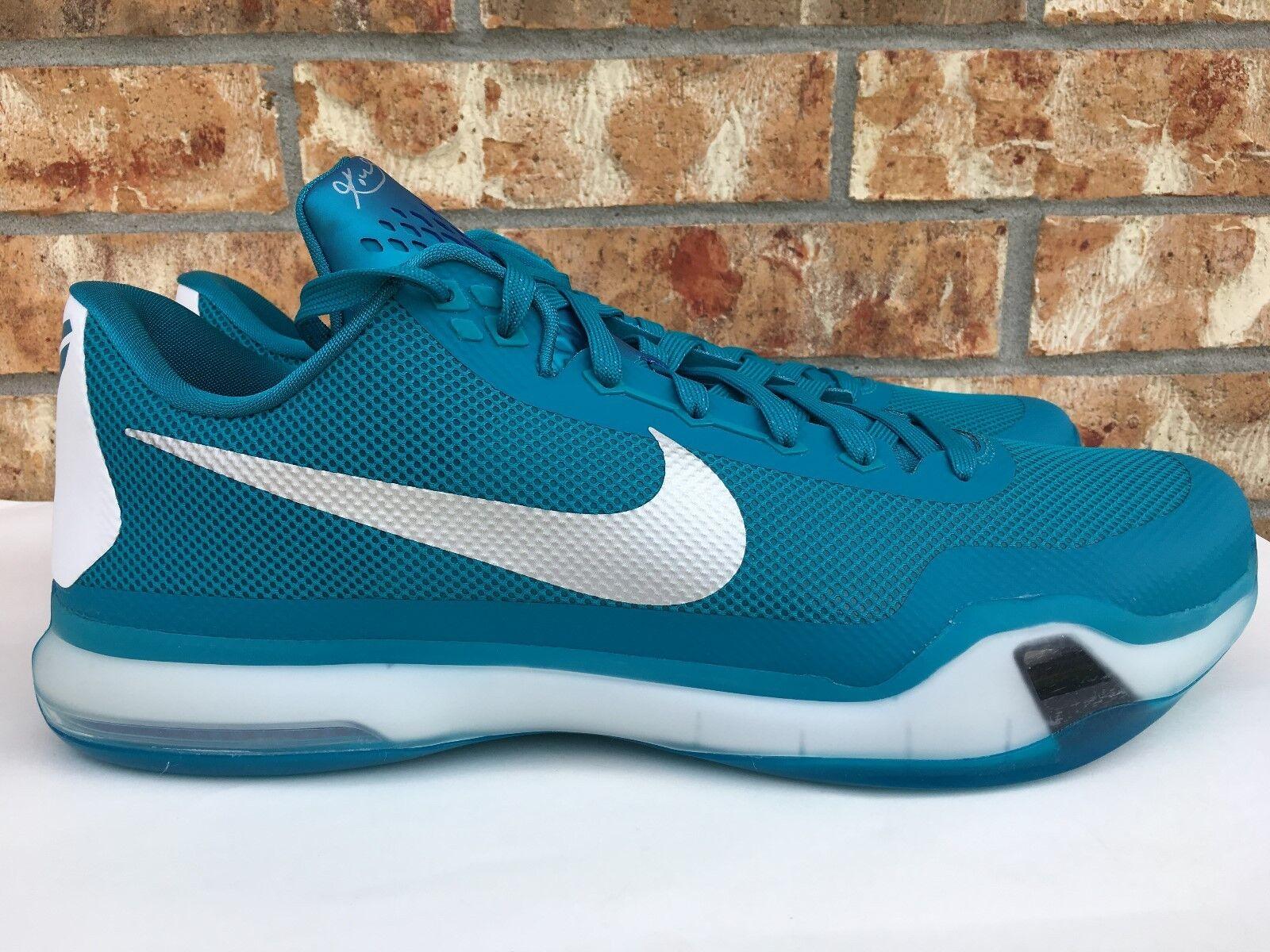 Men's Nike Kobe X 10 TB Basketball shoes Teal White Silver Size 16.5 813030-301