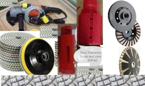 "Wet Polisher 1-3//8/"" Zero Tolerance drum core bit polishing pad convex blade cup"