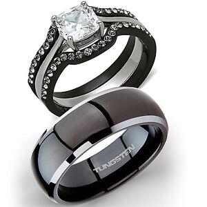 His Titanium Hers 4 Pc Black Stainless Steel Wedding Engagement