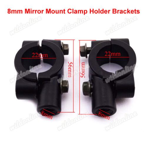 8mm Mirror Mount Clamp Holder Brackets For Motorcycle ATV Qaud Pit Dirt Bike