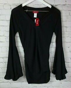NWT-PANHANDLE-Juniors-Womens-039-Black-Bell-Sleeve-Long-Sleeve-Shirt-Size-Small
