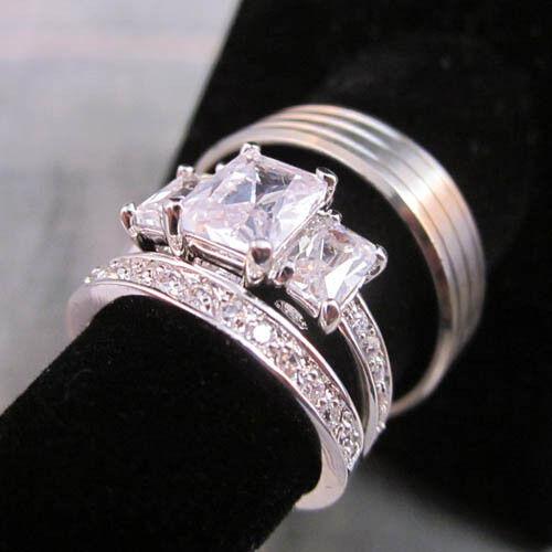 3 Ring Set HIS Titanium Brushed 3 Lines /& Modern Princess Cut 2 Set Size 5-13