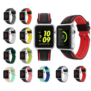 online store eb508 084a1 Image is loading New-Sports-Silicone-Nike-Apple-Watch-Strap-Band-