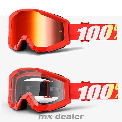 100% Occhiali Strata Furnace Rosso Motocross Enduro Downhill Cross Quad-