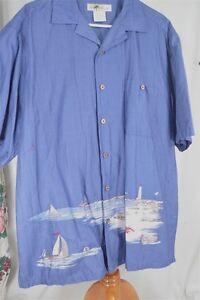 Joe-Marlin-Large-Cotton-Blue-Lighthouse-Men-039-s-Shirt