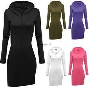 Women slim sport Long Sleeve Hooded sweater Hoodie Dress t-shirt ...