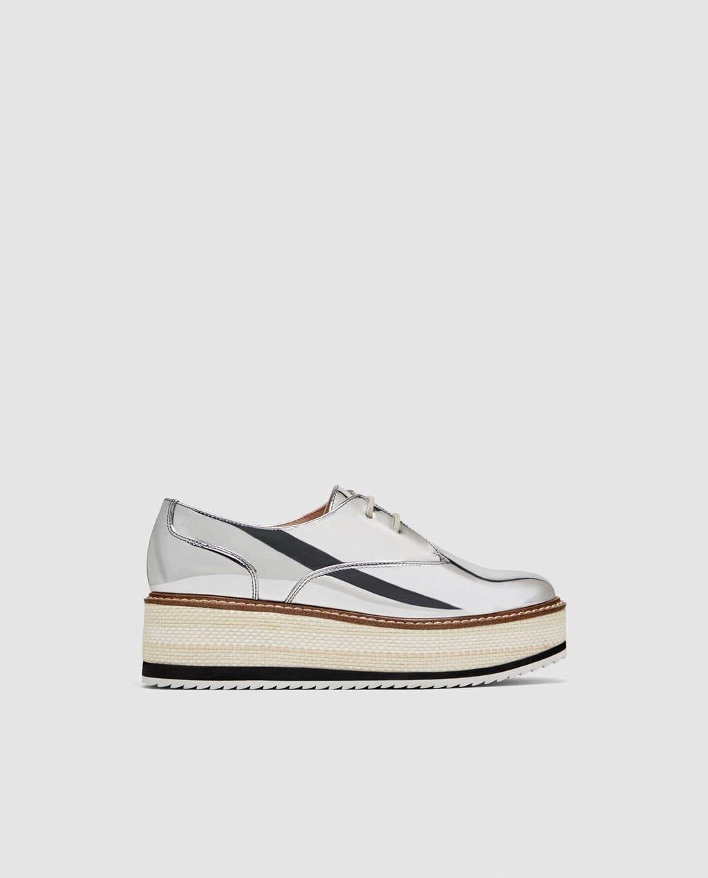 Zara Damens Silver Flatform Derby Schuhes Größe NWT 7.5 EU 38 NWT Größe 97f557