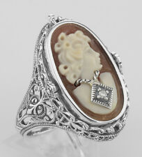 Hand Carved Cameo / Onyx w/ Diamonds Filigree Flip Ring - Sterling Size 7