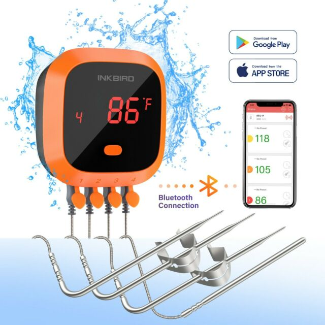 Inkbird Wireless BBQ Thermometer IBT-4XC Waterproof Rechargeable Bluetooth APP