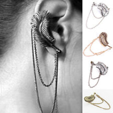 Gothic Punk Retro Feather Fashionable Ear Cuff Wrap Clip Stud Earring Good BLACK