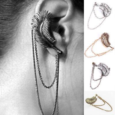 Gothic Punk Vintage Feather Leaf Tassel Chain Ear Cuff Wrap Clip Stud Earring