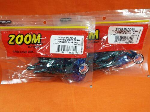 12cnt 2 PCKS ZOOM Ultra Vibe Speed Craw #080-232 JUNEBUG BLUE TAIL