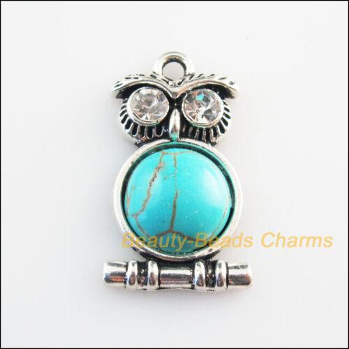 4 New Charms Animal Owl Crystal Turquoise Tibetan Silver Pendants 16.5x28.5mm