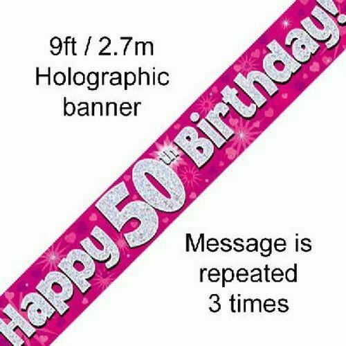 Female Happy 50th Birthday Party Foil Banner 50 Today Decoration Pink Banners For Sale Online