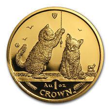 2001 Isle of Man 1 oz Gold Somali Kittens Cat BU - SKU #85817