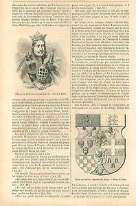 Stefan-Uros-IV-Dusan-Etienne-Douchan-le-Fort-King-Serbia-GRAVURE-OLD-PRINT-1864