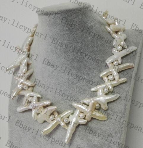 schöne kultivierte barocke kreuz süßwasserperle hochzeit halskette 17-25 zoll