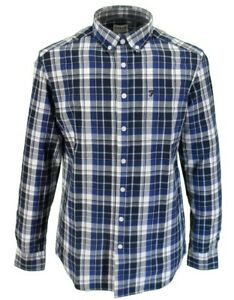 Farah-Long-Sleeved-Navy-Checked-Button-Down-Shirts