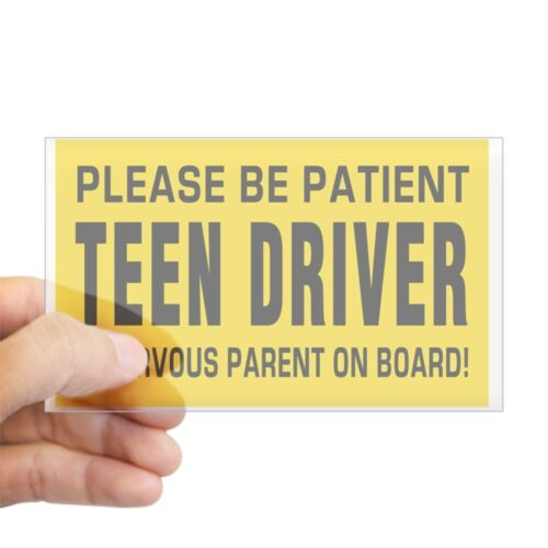rect. Sticker Teen Driver And Parent On Board Big Magnet Sticker CafePress