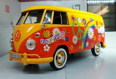 G LGB 1:24 Scale VW T1 Type 2 Hippy Flower Power Diecast ...