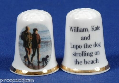 William, Kate & Lupo the Dog Strolling On The Beach Thimble B/81