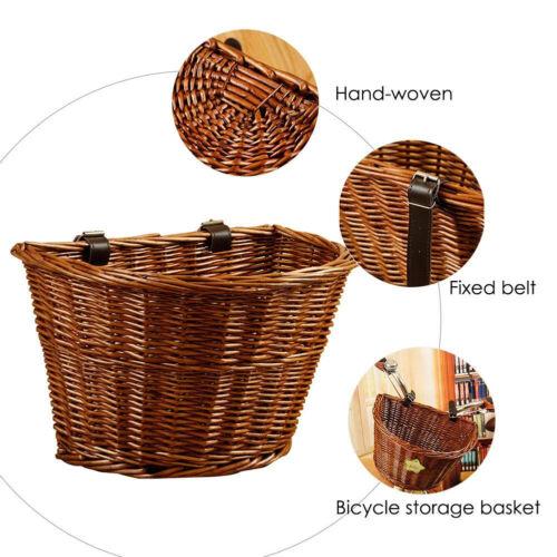 Ladies Bicycle Bike Front Wicker Wire Shopping Basket Luggage Handlebar