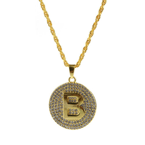 1X Hip-Hop Gold Round Character B Crystal Pendant Chain Necklace Jewelry