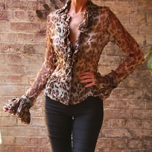 Wheels-and-Dollbaby-Doll-Baby-Silk-Georgette-Leopard-Blouse-size-4-rare-BNWT