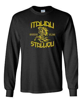Rocky Balboa Vintage Movie Logo Mens Raglan Shirt Boxing Fighter Long Sleeve Top