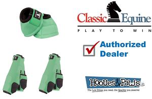 MEDIUM MINT CLASSIC EQUINE Front Rear Legacy Sport Horse Leg No Turn Bell Boots