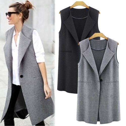 Women Casual Sleeveless Long Coat Jacket Cardigan One Button Suit Waistcoat New