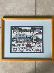 Vintage-Charles-Wysocki-Churchyard-Christmas-Scene-Framed-Matted-Print-21x17