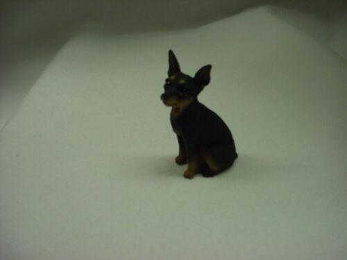 MINIATURE PINSCHER black tan puppy TiNY DOG Figurine HANDPAINTED Min Pin SM MINI