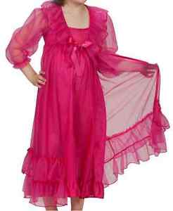 LAURA-DARE-Girls-Princess-Peignoir-Set-Nightgown-Sheer-Ruffle-Robe-Sizes-2T-14