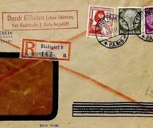 Cq247 Allemagne Express Courrier Recommandé 1937 * Stuttgart * Couverture Soldat Luxuriant In Design