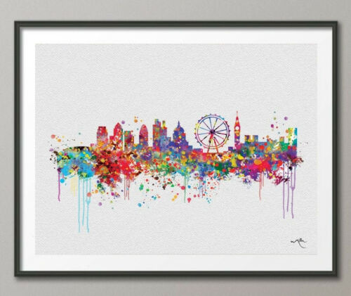 London Skyline England illustrations Art Print Wall Wedding Gift Poster Giclee