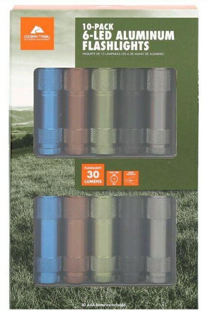 Ozark Trail DEL en aluminium lampe de poche 10 Pack avec 30 Piles AAA
