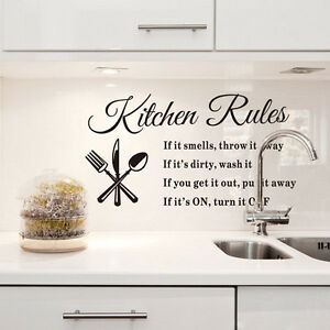 Removable Kitchen Rules Quote Wall Stickers Home Decor DIY