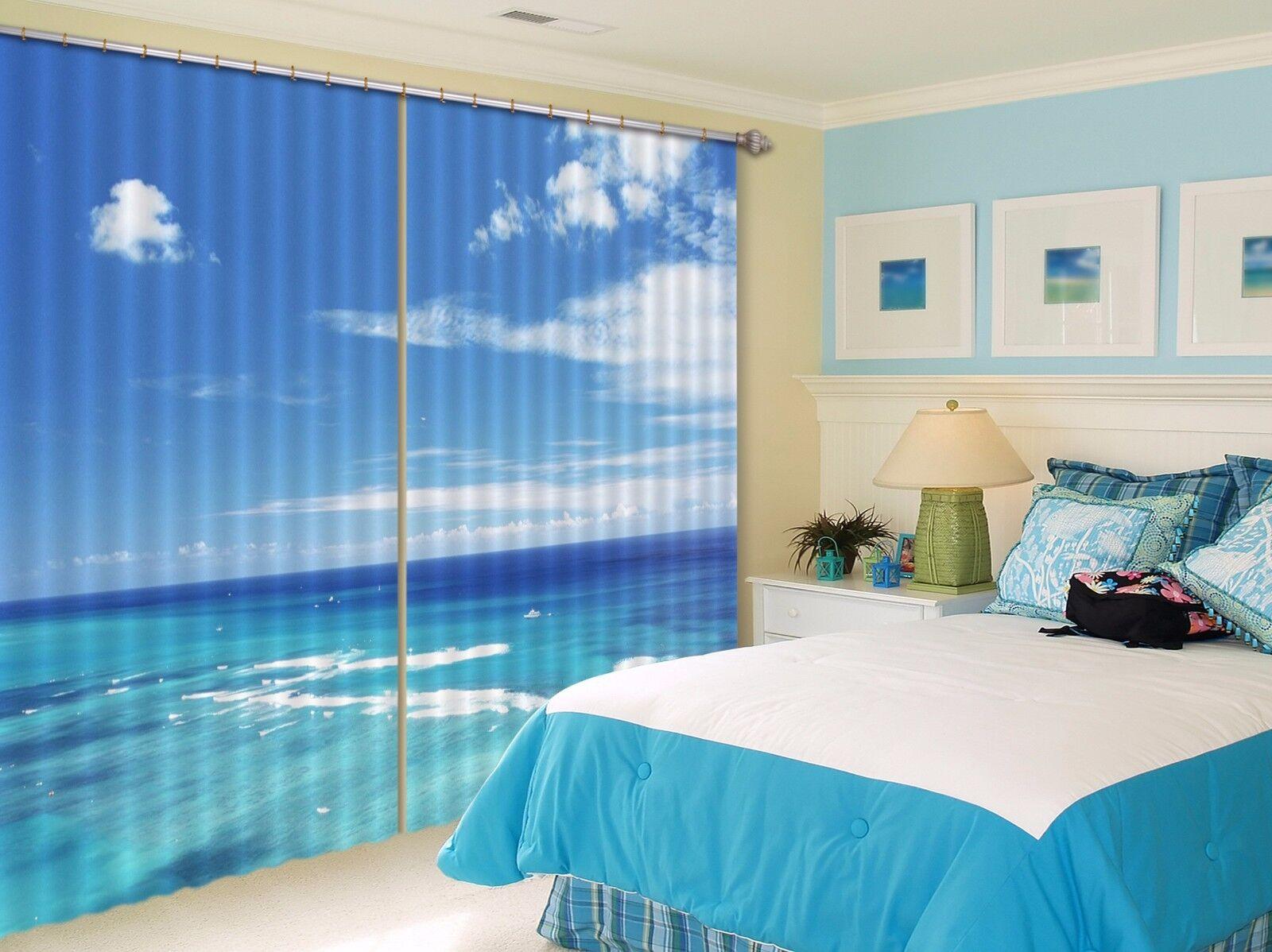 3D Mar Azul 523 Cortinas de impresión de cortina de foto Blockout Tela Cortinas Ventana au