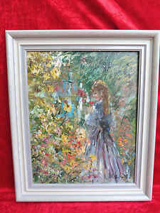 Very nice painting __ Girl in Flower Garden __ Signed __ Artist Painting!